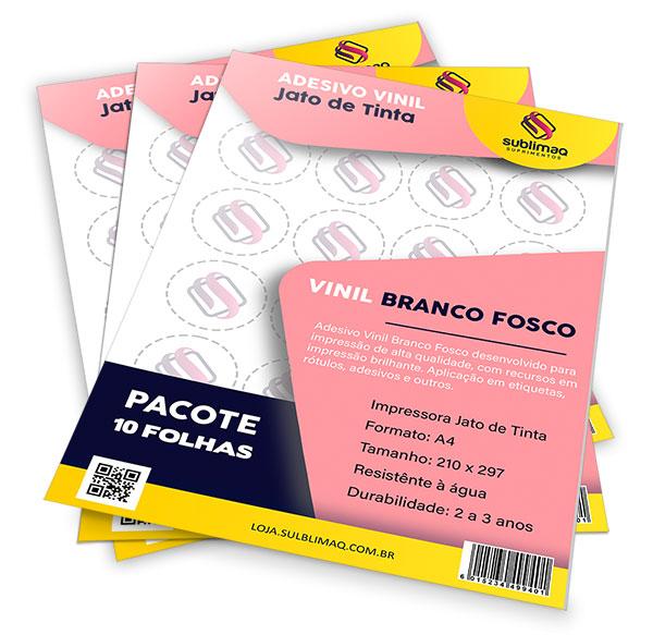 Adesivo Vinil Branco Fosco para Impressão Jato de Tinta - Pct C/ 10 Folhas A4