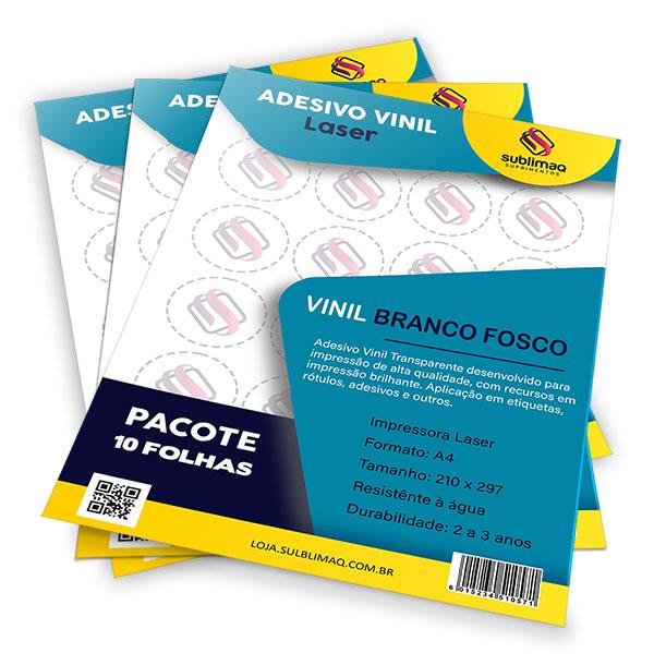 Adesivo Vinil Branco Fosco para Impressão Laser - Pct C/ 10 Unidades  A4