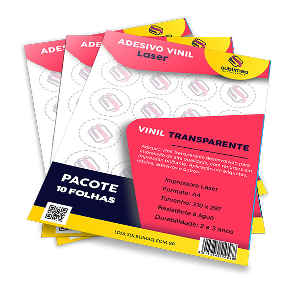 Adesivo Vinil Transparente para Impressão Laser - Pct C/ 10 Unidades A4