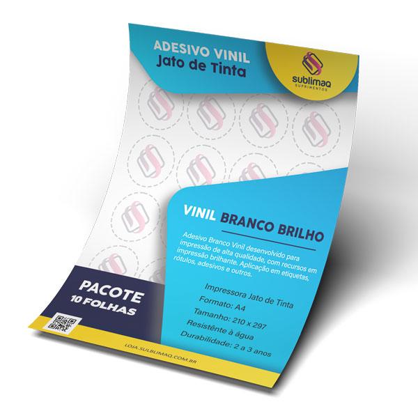 Adesivo Vinil para Jato de Tinta A4 Branco Brilho Pct C/ 10 Folhas