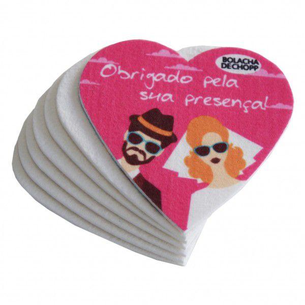 Bolacha de Chopp Pet Sublimático Coração (8,8 X 8,8 cm) - Cartela com 6 Unidades