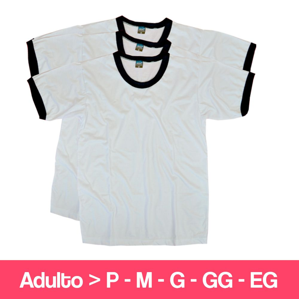 Camiseta 100% Poliéster - Adulto - Branca Detalhe Preto - Manga Curta