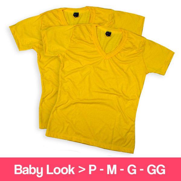 Camisetas 100% Poliéster - Baby Look - Gola V - Manga Curta - Amarela