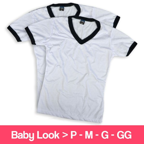 Camisetas 100% Poliéster - Baby Look - Gola V - Manga Curta - Branca com Detalhe Preto