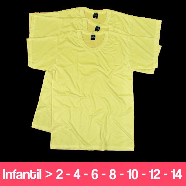 Camisetas 100% Poliéster - Infantil - Manga Curta - Amarelo Claro