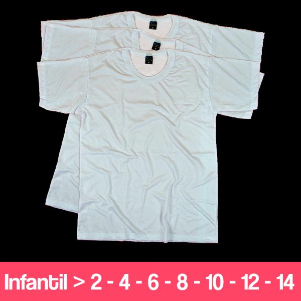 Camisetas 100% Poliéster - Infantil - Manga Curta - Branca