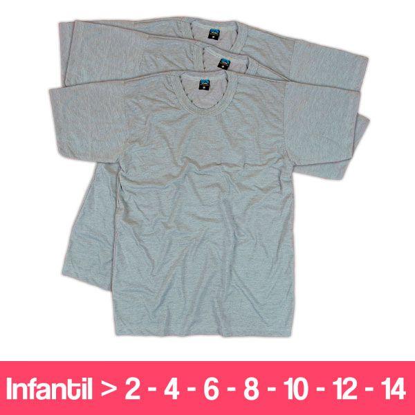 Camisetas  100% Poliéster - Infantil - Manga Curta - Cinza Mescla