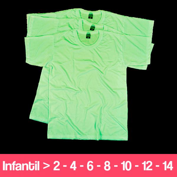 Camisetas 100% Poliéster - Infantil - Manga Curta - Verde Claro