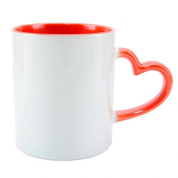 Caneca Alça Coração - de Cerâmica - Para Sublimação - Detalhes na cor Vermelha