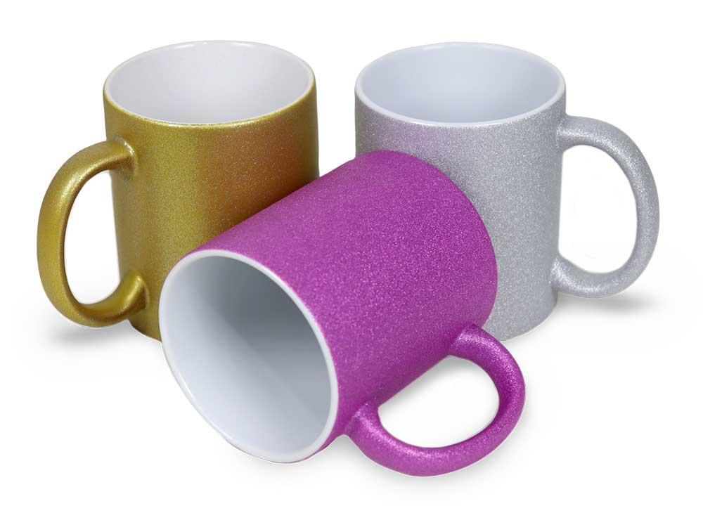 Caneca com Glitter para Sublimação - de Cerâmica