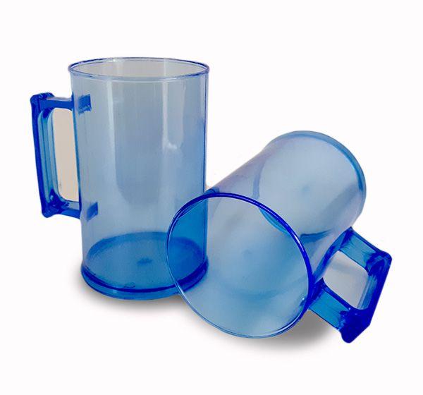 Caneca de Chopp Acrilico - Azul Translucido - 500ml - Pt c/ 12 unidades
