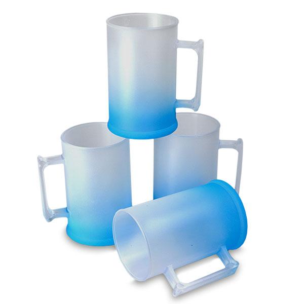 Caneca de Chopp Azul Neon Degradê Jateado 500 ml - PS Cristal - CX C/ 10 Unidades