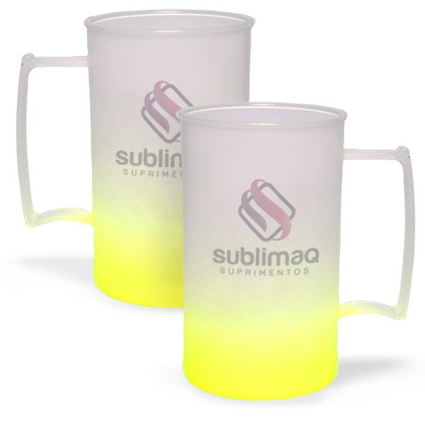 Caneca de Chopp Degradê Amarelo Neon - Jateado Fosco - PS Cristal - 430 ml