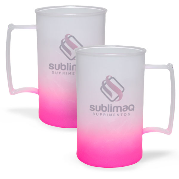 Caneca de Chopp Degradê Rosa Neon - Jateado Fosco - PS Cristal - 430 ml