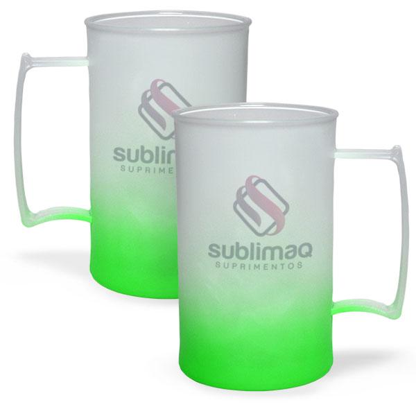 Caneca de Chopp Degradê Verde Neon - Jateado Fosco - PS Cristal 430 ml