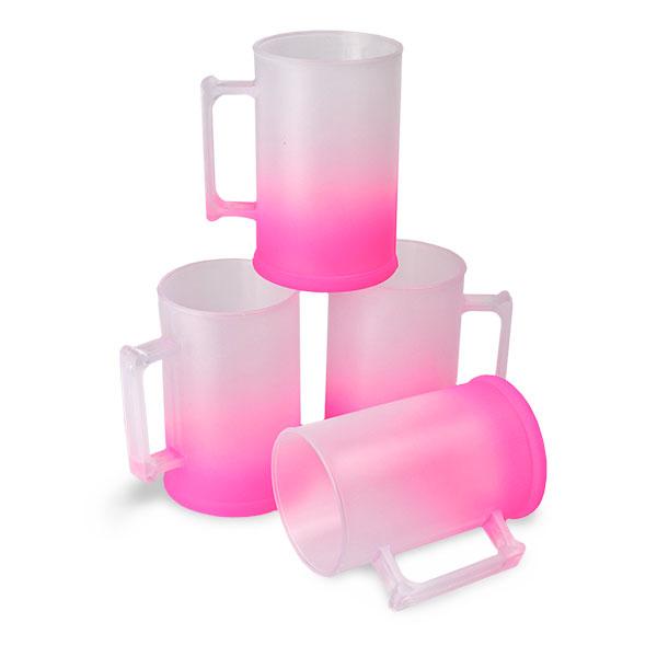 Caneca de Chopp Rosa Neon Degradê Jateado 500 ml - PS Cristal - CX C/ 10 Unidades
