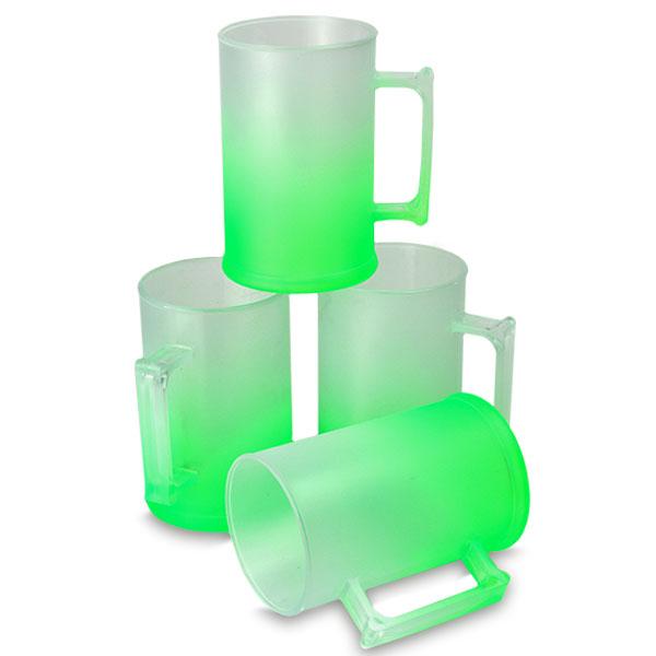 Caneca de Chopp Verde Neon Degradê Jateado 500 ml - PS Cristal - CX C/ 10 Unidades