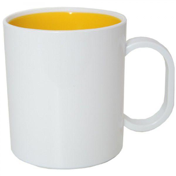 Caneca de Polimero para Sublimação - Branca - Interior Amarelo - Resitec