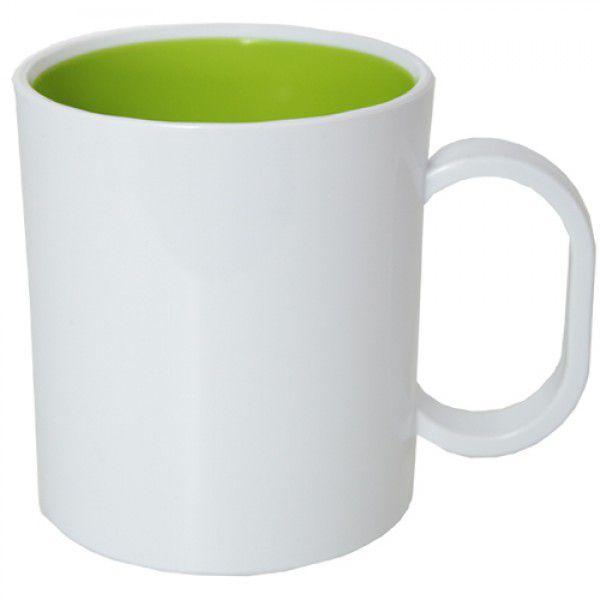 Caneca de Polimero  para Sublimação - Branca - Interior Verde - Resitec