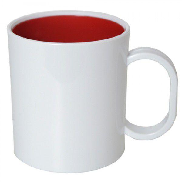 Caneca de Polimero  para Sublimação - Branca - Interior Vermelho - Resitec