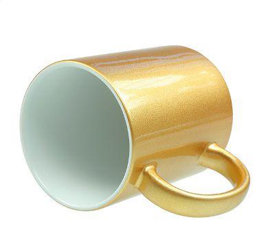Caneca Perolizada Dourada  de Cerâmica  para Sublimação - Classe A