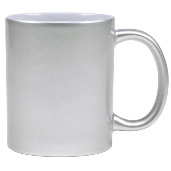 Caneca  Prata Perolizada  de Cerâmica - Classe A - Para Sublimação