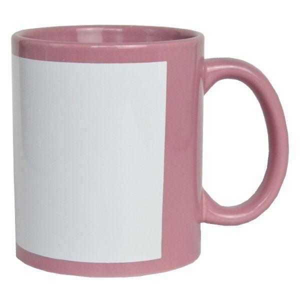 Caneca para Sublimação Rosa Bebê com Tarja Branca  325ml de Cerâmica - Classe A