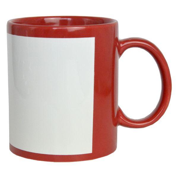 Caneca  Vermelha com Tarja Branca de Cerâmica - Classe A - Para Sublimação