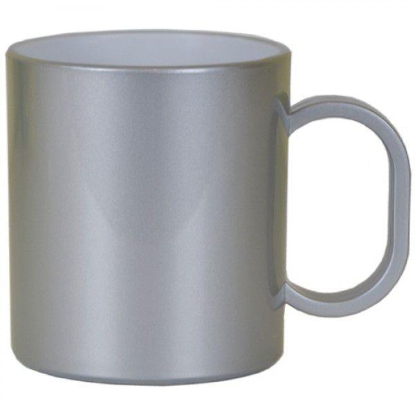 Caneca de Polimero  para Sublimação - Prata Metalizado - Resitec