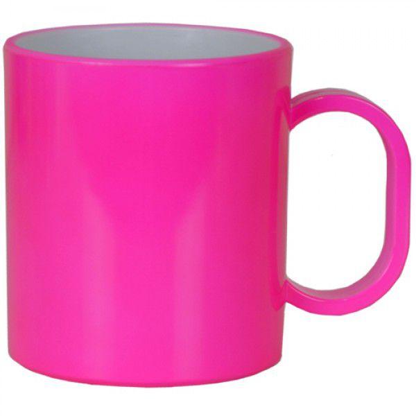 Caneca de Polimero  para Sublimação - Rosa Neon - Resitec