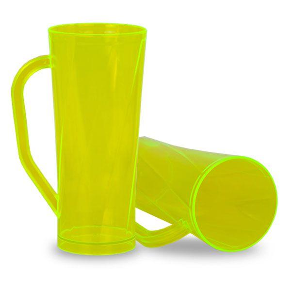 Caneca Twister com Alça Amarelo Translucido - 450ml - Pt c/ 10 unidades