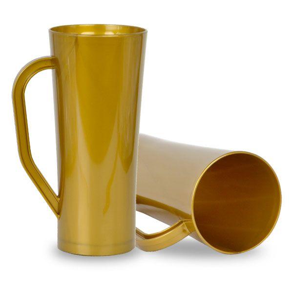 Caneca Twister com Alça Dourada - 450ml - Pt c/ 10 unidades