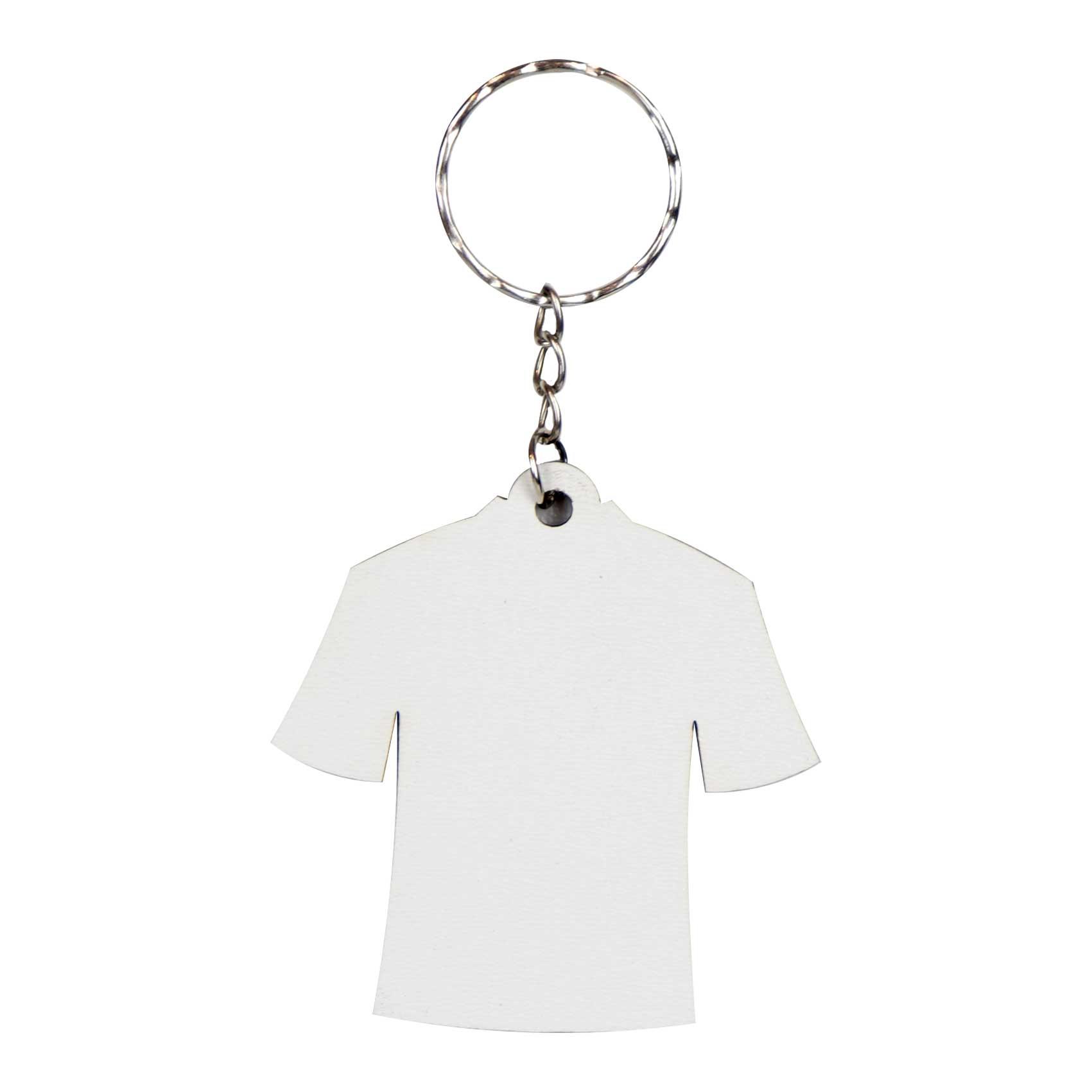 Chaveiro Camiseta MDF -  Pacote C/ 12 Unidades + Argola e corrente