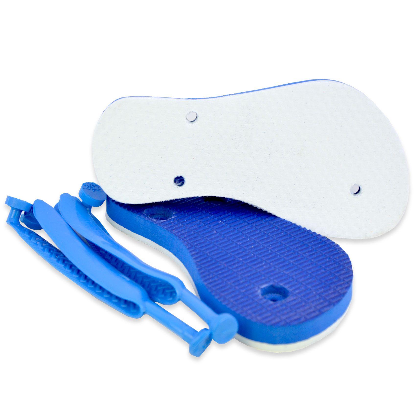 Chinelo com tecido poliéster  - Tamanho Infantil - Azul Claro