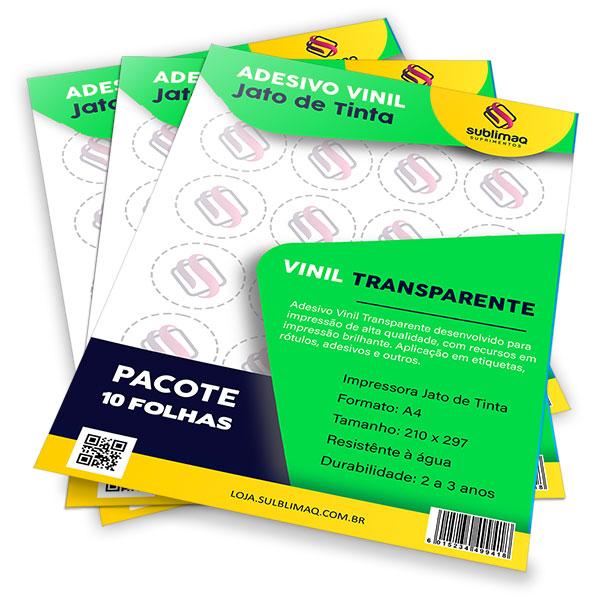 Adesivo Vinil Transparente para Impressão Jato de Tinta - Pct C/ 10 Folhas A4