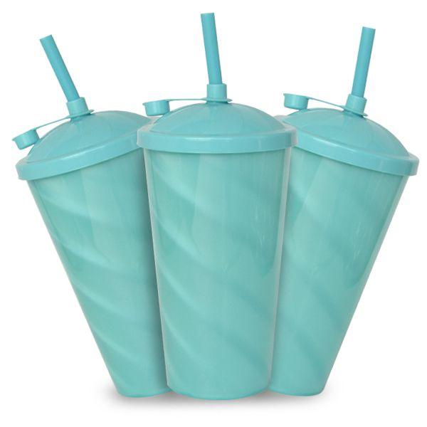 Copo Twister Azul Tiffany Perolado com Tampa e Canudo Azul  - 550ml - Pct c/ 10 Unidades