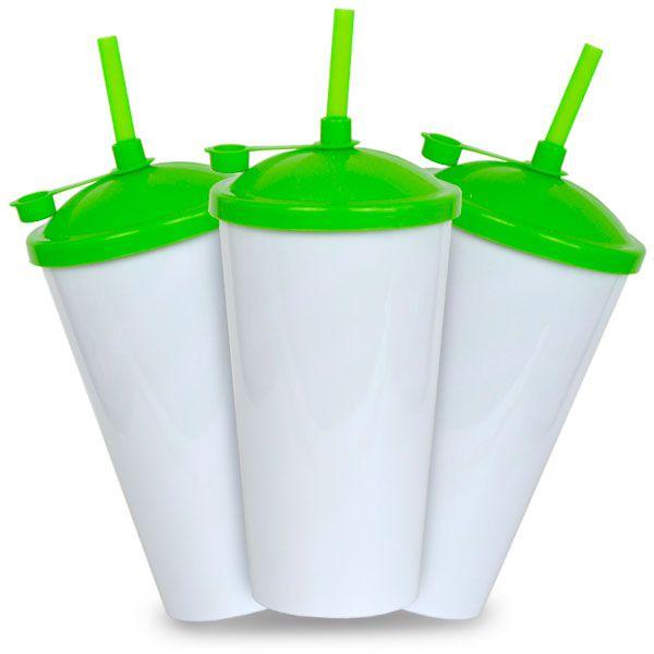 Copo Twister Branco com Tampa e Canudo Verde - 550ml - Pacote c/ 10 unidades
