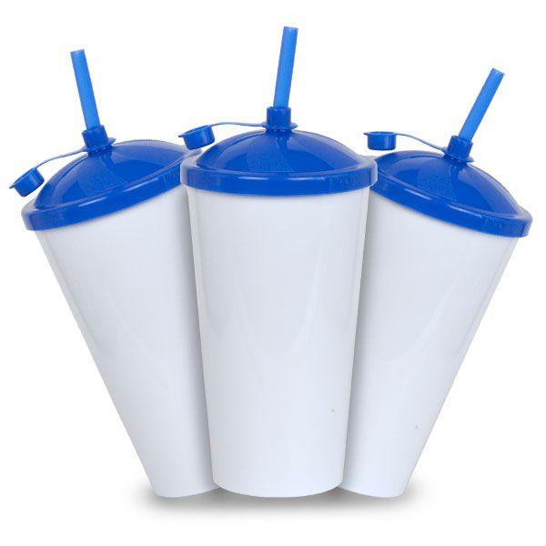 Copo Twister Branco com Tampa e Canudo Azul - 550ml - Pct c/ 10 Unidades