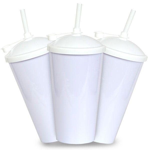 Copo Twister branco com Tampa e Canudo Branco - 550ml - Pct c/ 10 unidades