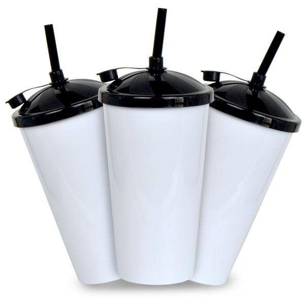 Copo Twister Branco com Tampa e Canudo Preto - 550ml - Pct c/ 10 Unidades