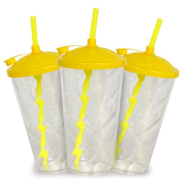 Copo Twister Cristal com Tampa e Canudo Amarelo  - 550ml - Pct c/ 10 Unidades