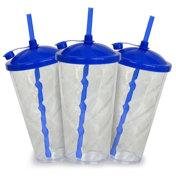 Copo Twister Cristal com Tampa e Canudo Azul  - 550ml - Pct c/ 10 Unidades