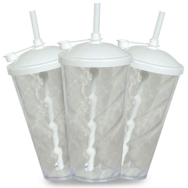 Copo Twister Cristal com Tampa e Canudo Branco - 550ml - Pct c/ 10 unidades