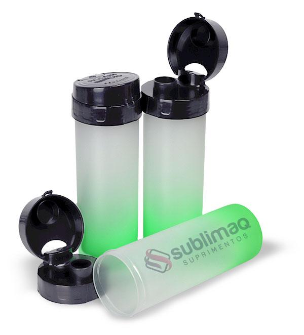 Garrafa Acqua Bio 600 ml  Degradê Verde Neon C/ Tampa Preta