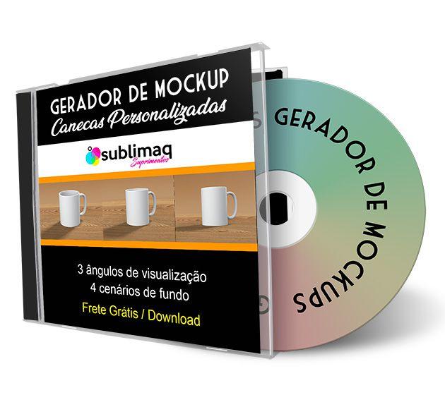 Gerador de Mockup  PSD para Caneca Individua em 3 posições diferentes - Arquivo de download