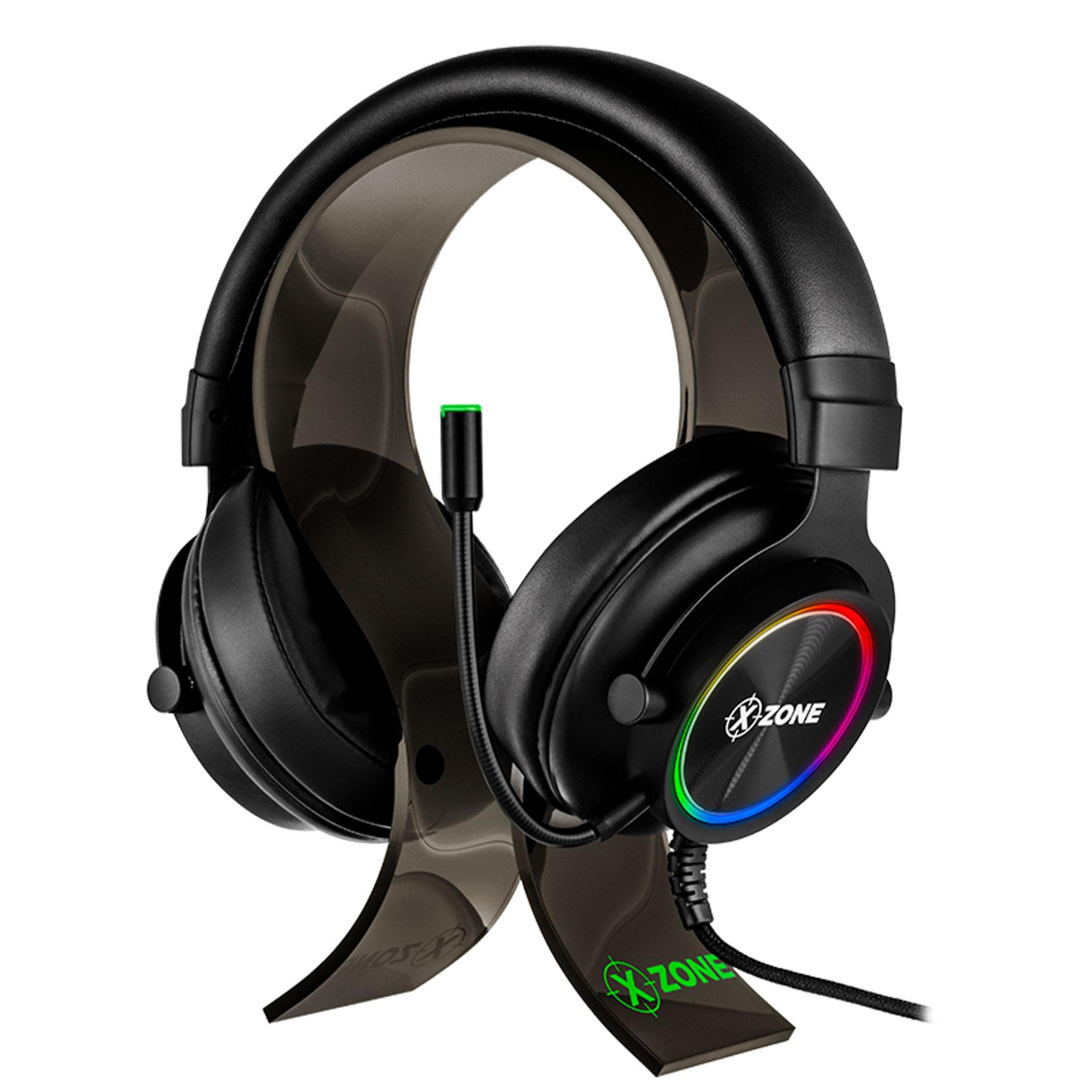 Headset  Gamer GHA01Led RGB Isolamento acustico e Microfone Flexível removível