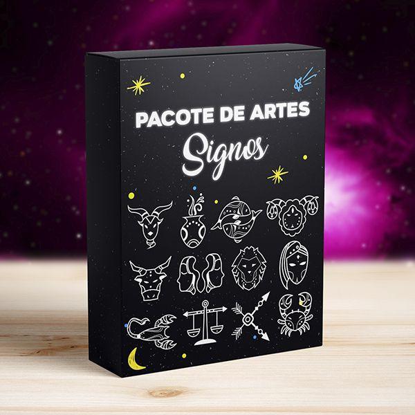 Kit 12 Artes Signos do Zodíaco para Canecas