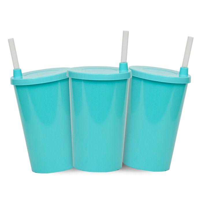 Kit - Copo Infantil  Azul Tiffany com Tampa e Canudo - 280 ml - 10 Unidades