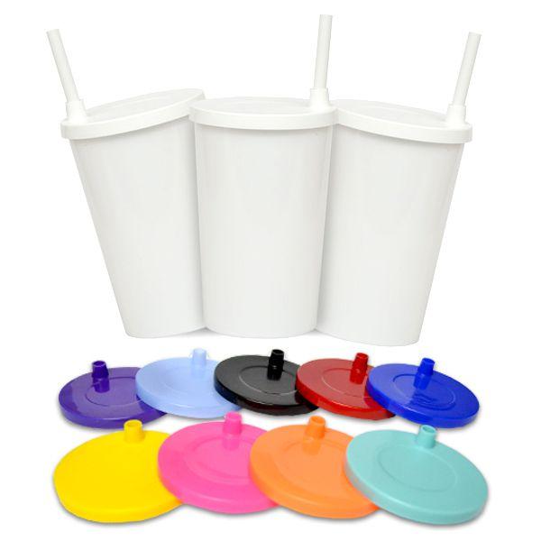 Kit - Copo infantil com canudo - Branco com Tampa e Canudo Coloridos - 280 ml - 10 Unidades