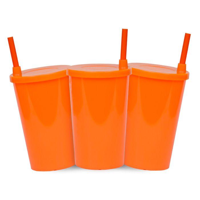 Kit - Copo Infantil Laranja Neon com Tampa e Canudo - 280 ml - 10 Unidades
